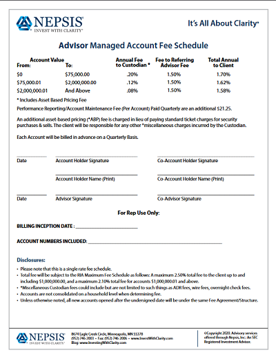 Advisor Only 1.5 Fee Schedule