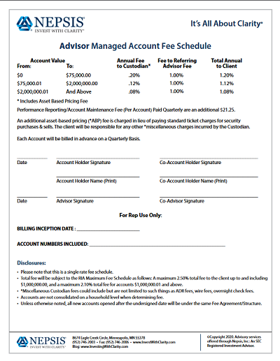 Advisor Only 1.0 Fee Schedule