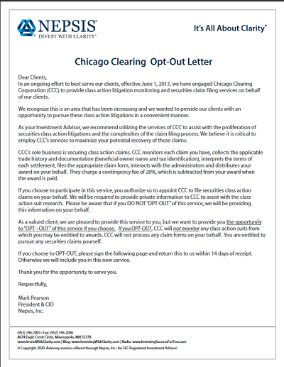 Chicago Clearing Opt Out Letter