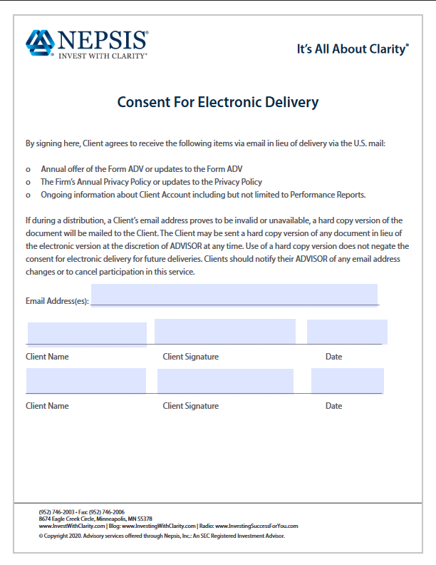 Consent For Electronic Delivery