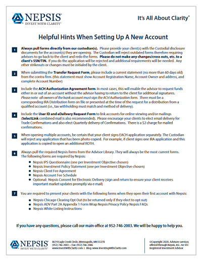 Helpful Hints for Advisors When Setting Up A New Account