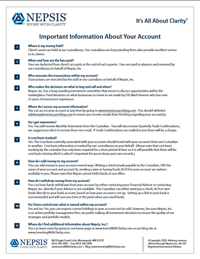 Important Information About Your Account