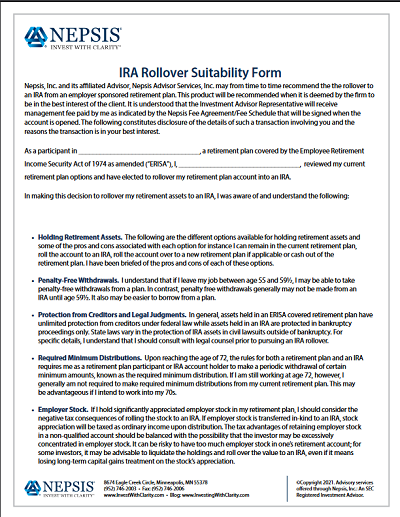 IRA Rollover Suitability Form