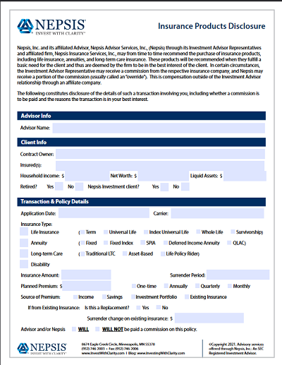 Nepsis Insurance Products Disclosure